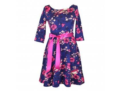 Půlkolové šaty - modrorůžové s ptáčky