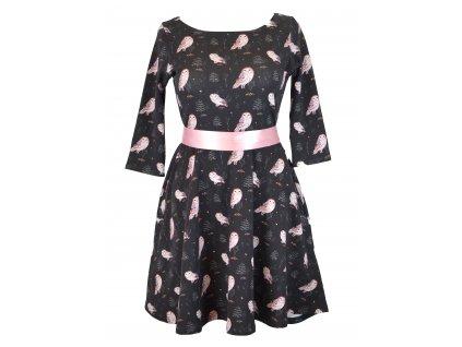Půlkolové šaty - delší - sovičky