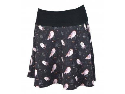 Půlkolová sukně - sovičky