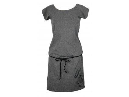 Šaty podkasané - šedé s pírky