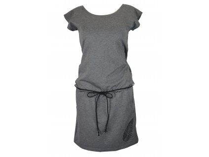 Šaty podkasané - šedé s kapradím