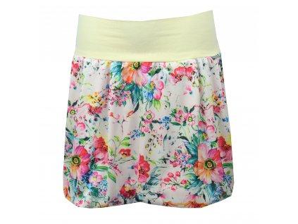 Balónová sukně - světlá s pestrými květy