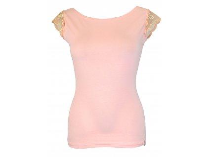 Tričko s krajkovými rukávky - světle růžové
