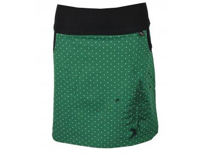 Pouzdrová sukně - zelená s puntíky liška