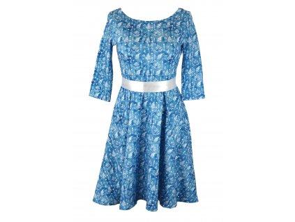 Půlkolové šaty - modré lístečky - kratší
