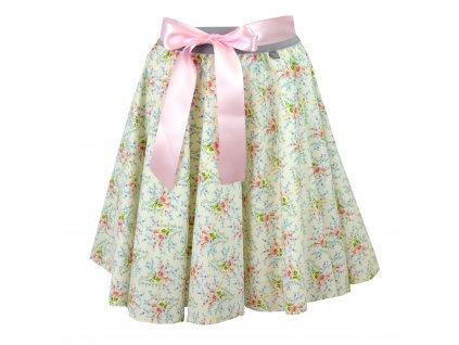 Kolová sukně - světlá a kvítka