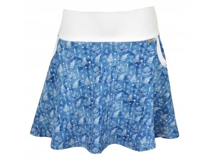 Půlkolová sukně - modré lístečky