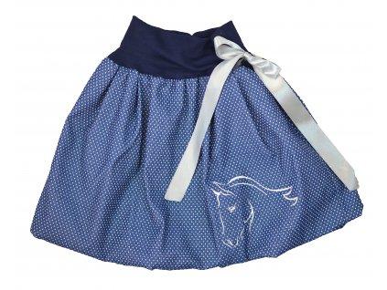 Dětská sukně - jeans puntík - kuň