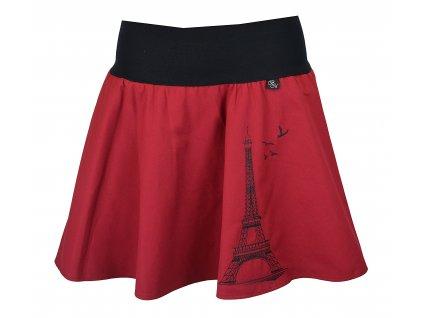 Půlkolová sukně - vínová Eiffelovka