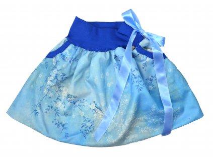 Dětská sukně - ptačí romance - modrá rovná