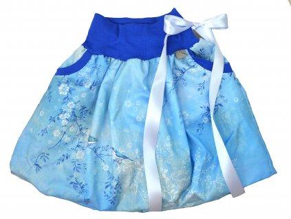 Dětská sukně - ptačí romance - modrá balónová