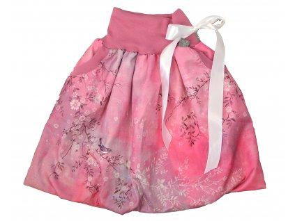 Dětská sukně - ptačí romance - růžová balónová