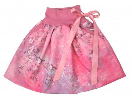 Dětská sukně - ptačí romance - růžová rovná