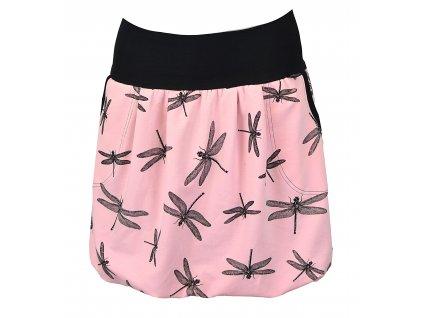 Balónová sukně - růžová s vážkami