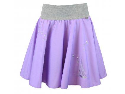 Kolová sukně - lila s plachetnicí