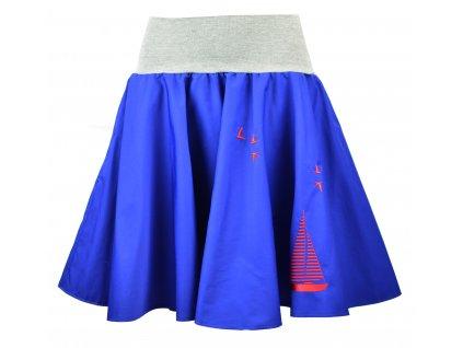 Kolová sukně - rudá plachetnice