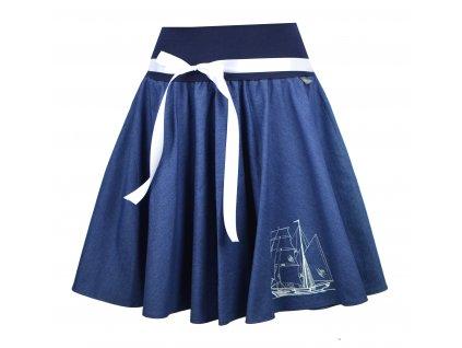 Kolová sukně - jeans plachetnice