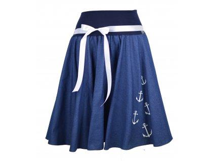 Kolová sukně - jeans kotvičky