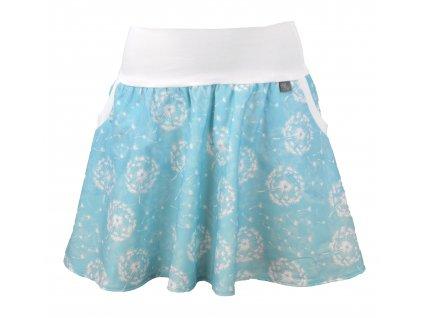 Půlkolová sukně - blankytné pampelišky