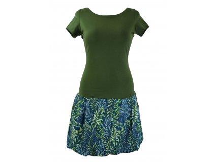 Balónové šaty - zelené lístečky