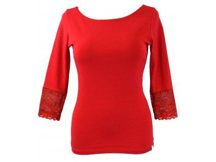 Tričko s krajkovými rukávky - červené
