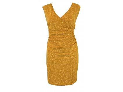 Řasené šaty s křížením - hořčicové