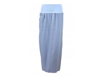 Maxi sukně - světle modrá větší puntík