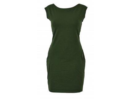 Šaty s průstřihem na zádech - zelené