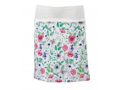 Pouzdrová sukně - bílá s květinami