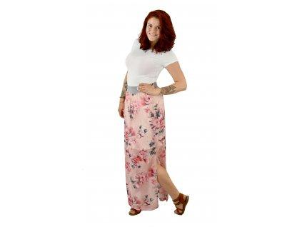 Maxi sukně - šifonová - růžová s květy