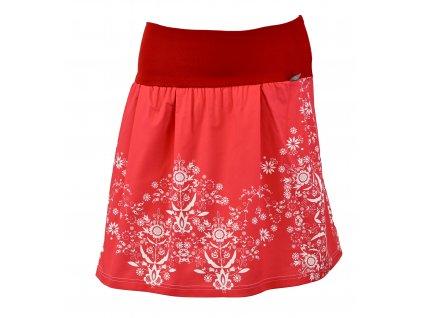 Rovná sukně - červený folklór