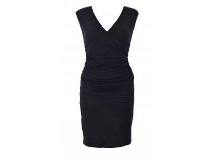 Řasené šaty s křížením - černé