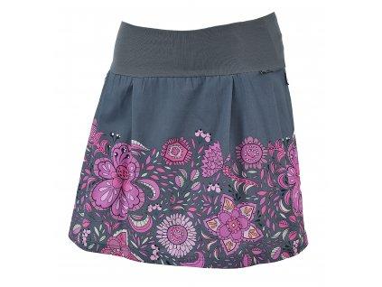 Rovná sukně - hravé květy