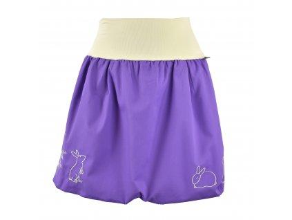 Balónová sukně - fialová s králíčky (Délka 47 cm)