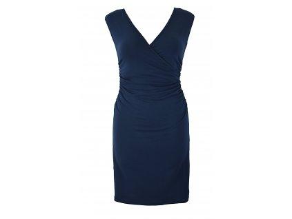 Řasené šaty s křížením - modré