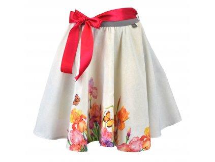 Kolová sukně - kosatce a motýlci
