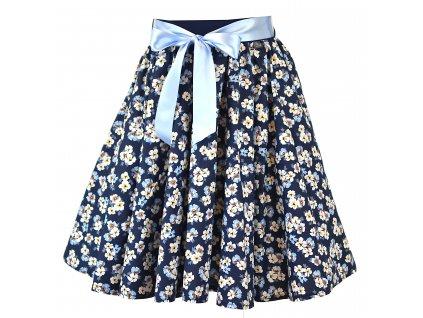 Kolová sukně - modré kvítí