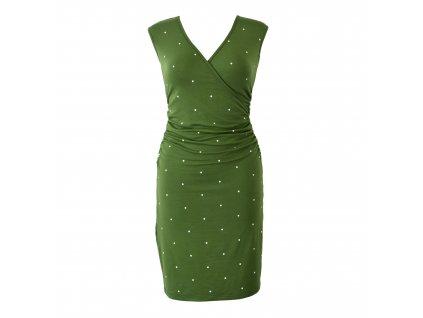šaty řasené s křížením zelené