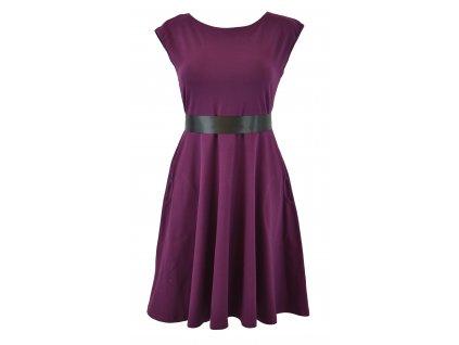 Půlkolové šaty - fialové