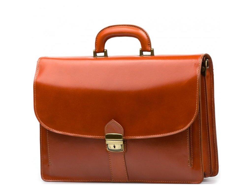 Kožená pracovní taška Serena koňakově hnědá