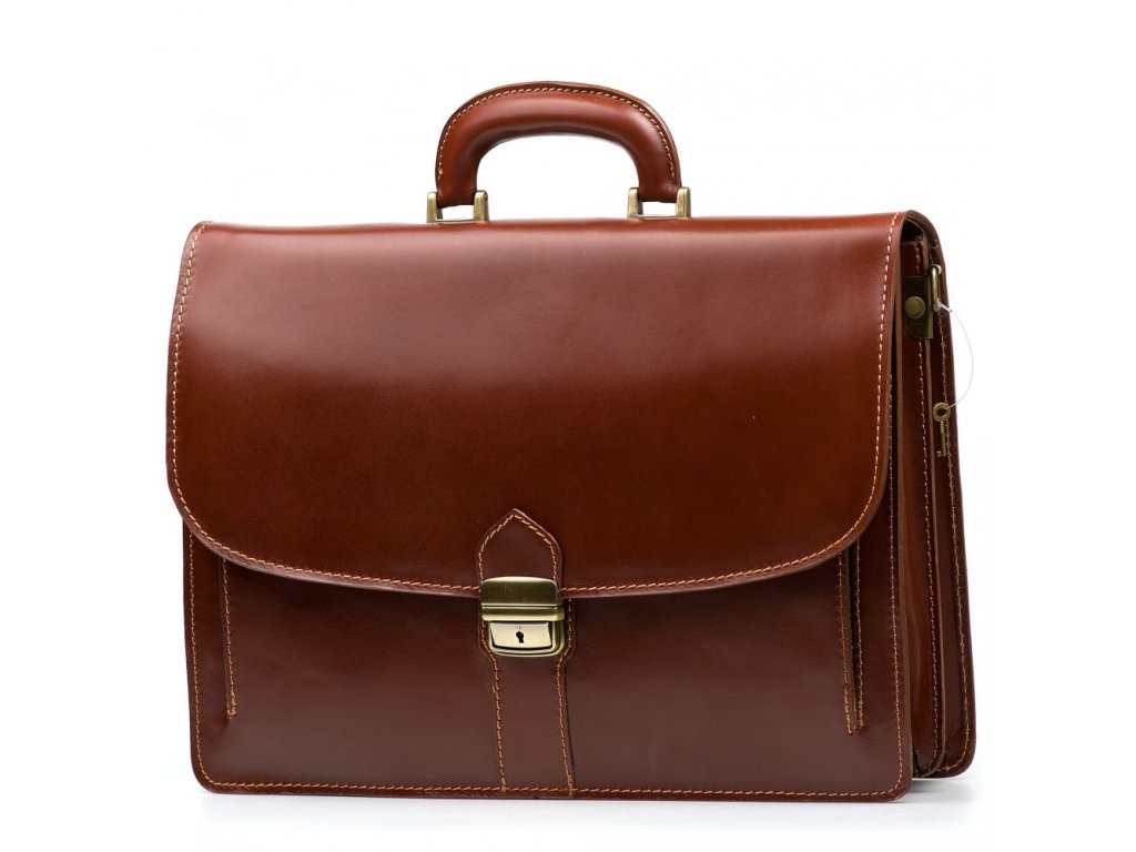 Kožená pracovní taška Serena hnědá