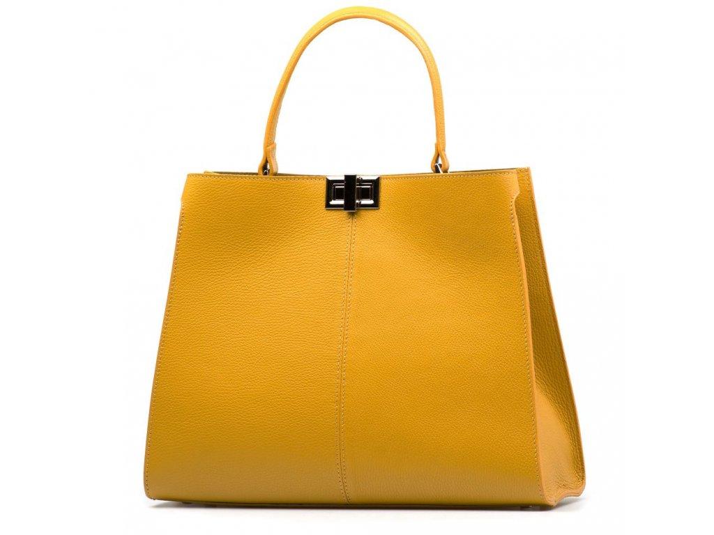 Kožená kabelka Moos hořčicově žlutá