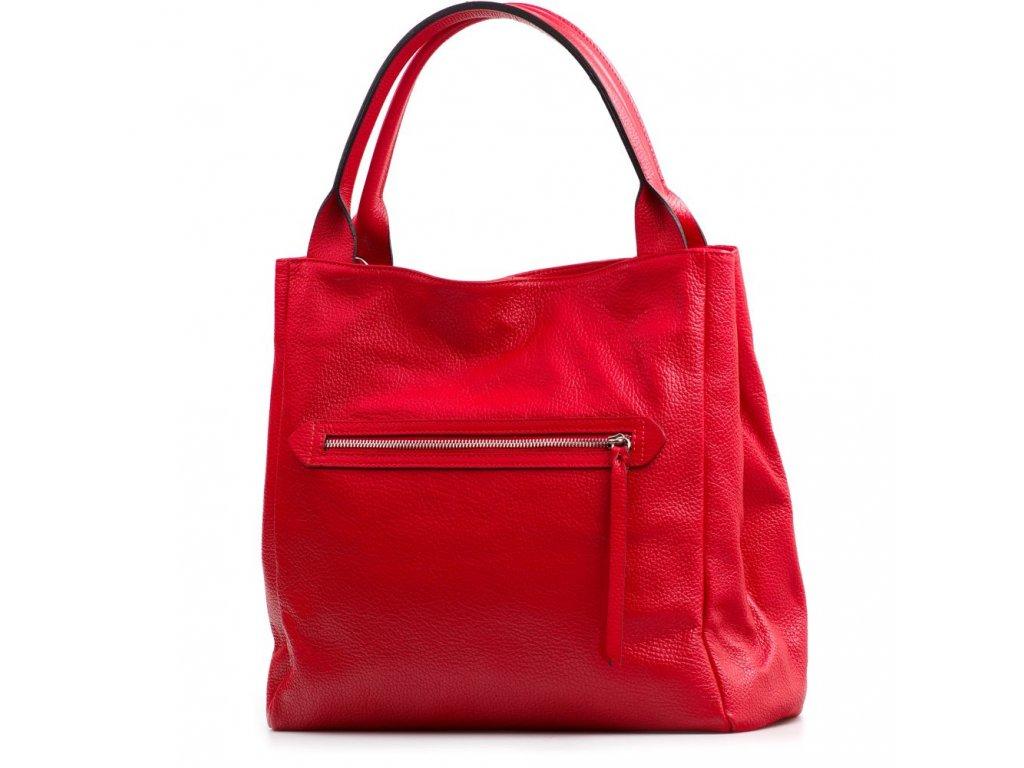 Kožená maxi kabelka Rona červená