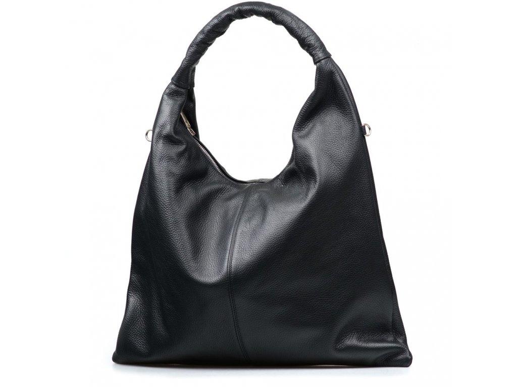 Kožená maxi kabelka Erma černá