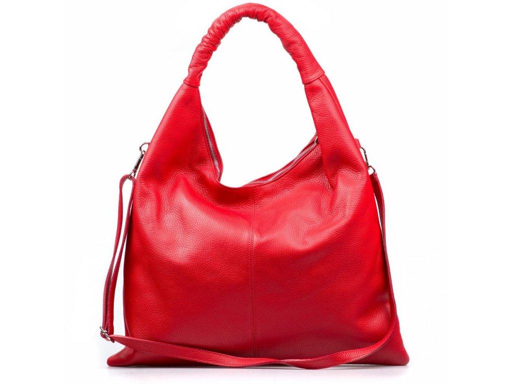 Kožená maxi kabelka Erma červená