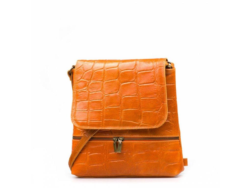 Kožená crossbody kabelka Giulia oranžová