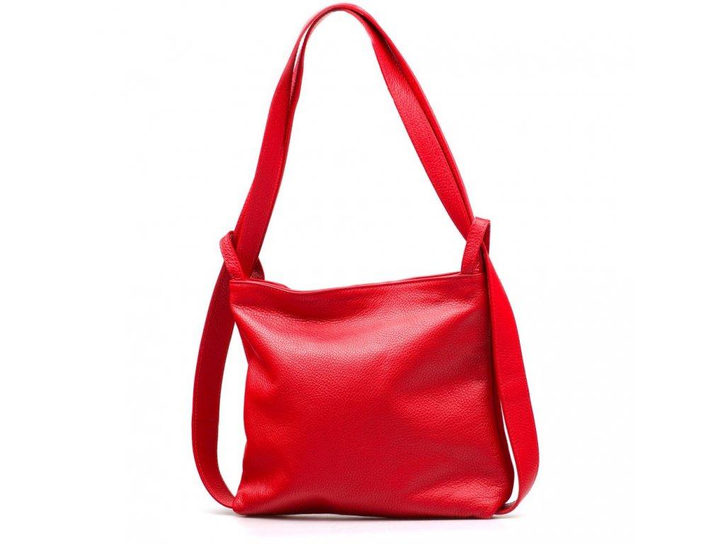 Kožená kabelka - batůžek Silvia červená