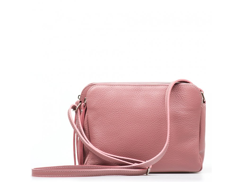 Kožená crossbody kabelka Leia růžová