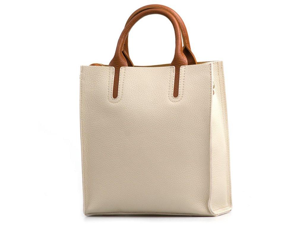 Kožená kabelka Stefania béžová