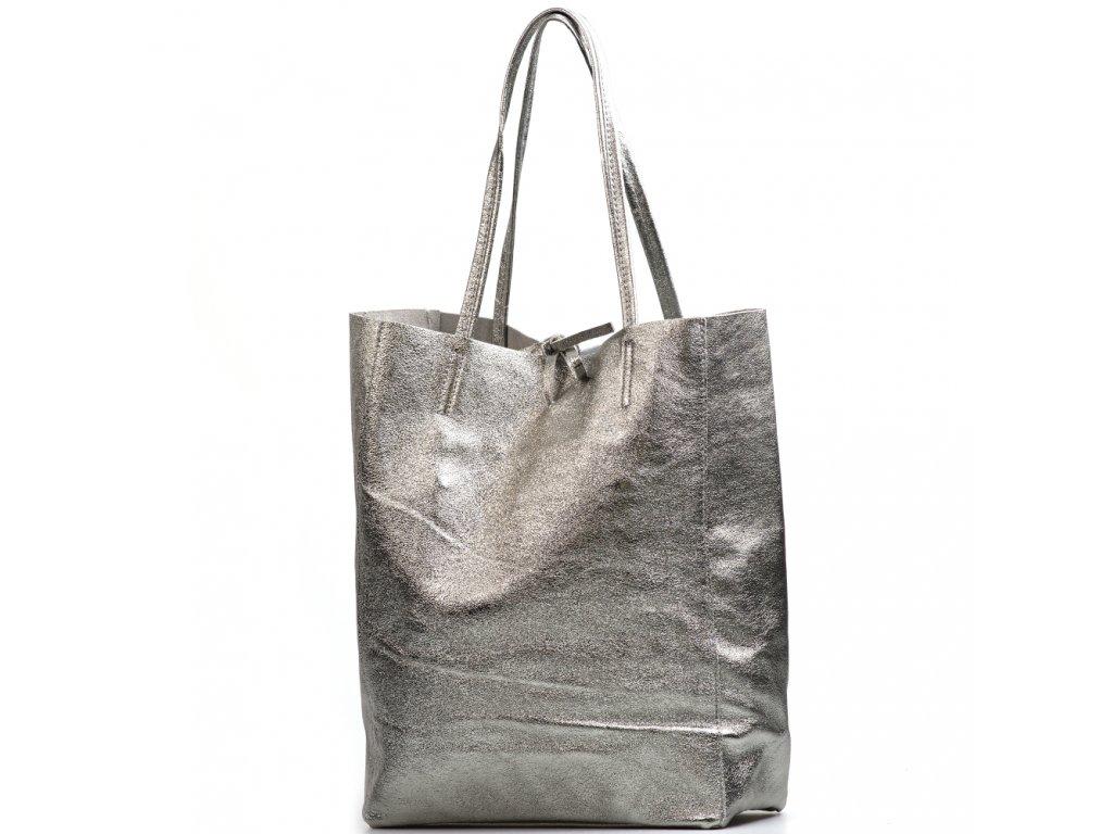 Kožená shopper kabelka Solange kovově stříbrná